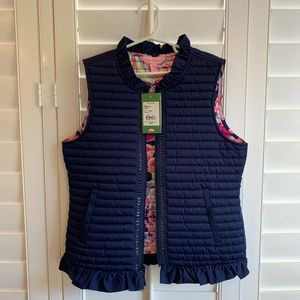 NEW Lilly Pulitzer Girls Levie Vest, Navy, Size XL